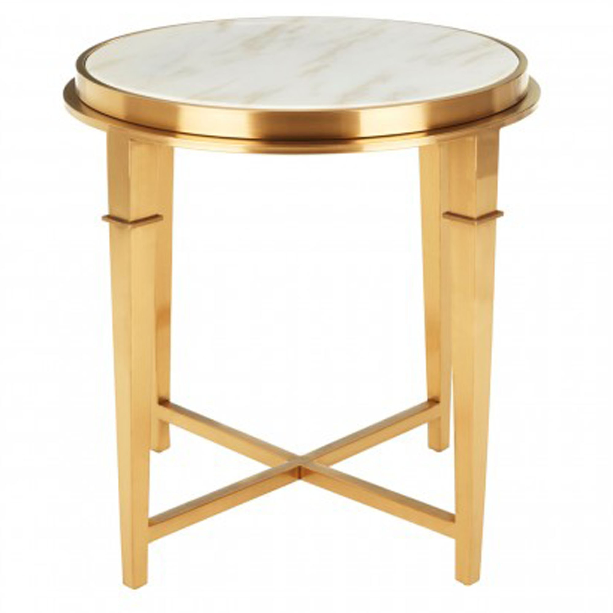 Alvaro Round Gold Finish Side Table Modern Furniture Side Tables
