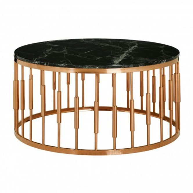 Alvaro Round Marble Top Coffee Table   Modern Furniture ...