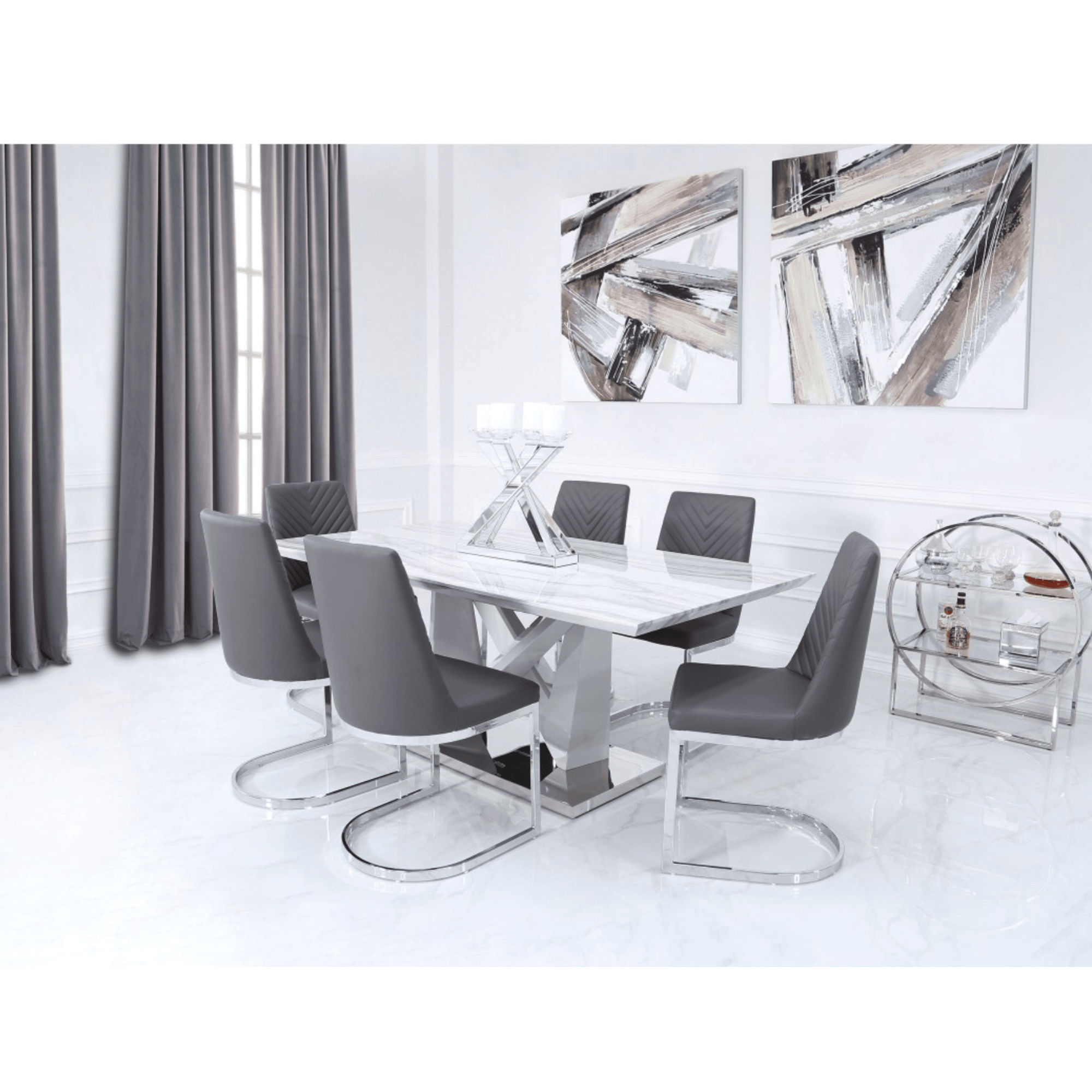 Amara Rectangle Marble Effect Dining Table Marble Dining Table