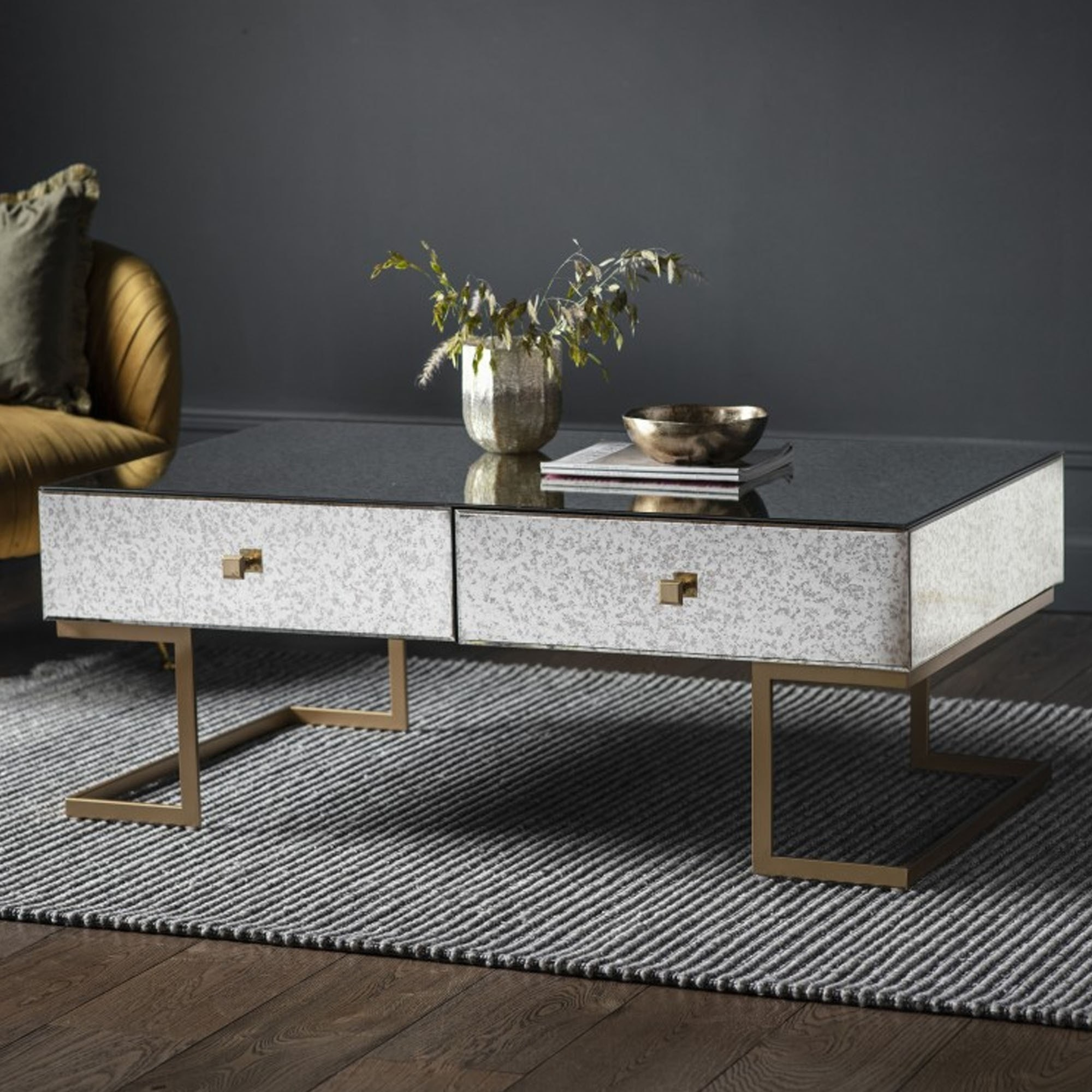 Picture of: Amberley 4 Drawer Coffee Table Mirrored Coffee Table