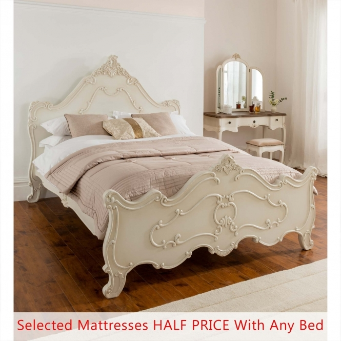 Annaelle Antique French Bed (Size: Double) + Mattress - Bundle Deal