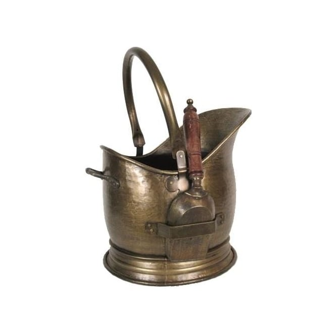 Antique Brass Coal Bucket With Shovel
