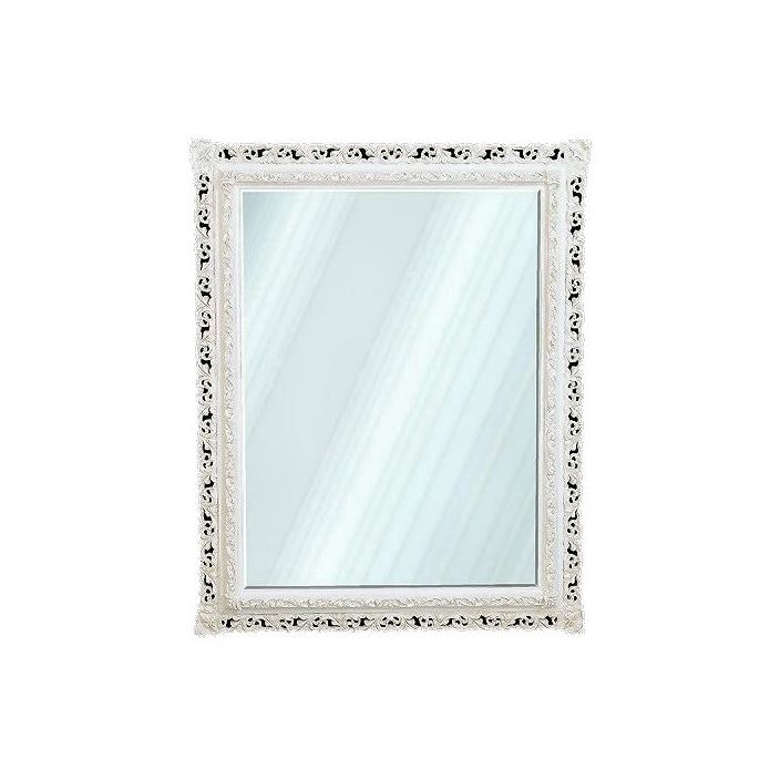 Antique french white decorative wall mirror for Fancy white mirror