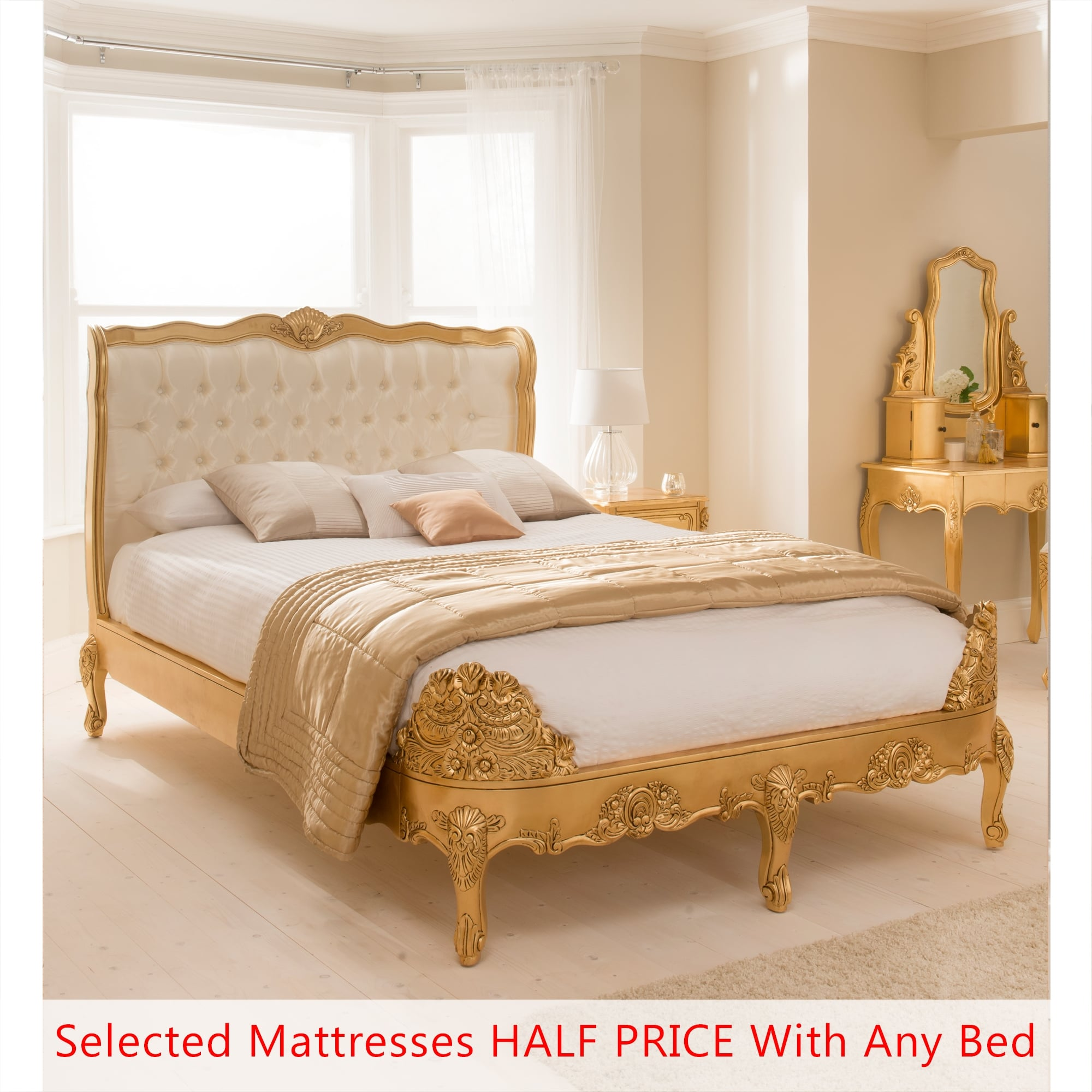 Antique French Style Ornate Gold Leaf Bed Mattress Deal