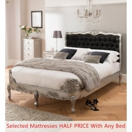 Antique French Ornate Silver Leaf Bed (Size: Double) + Mattress (Size: Double) - Bundle Deal