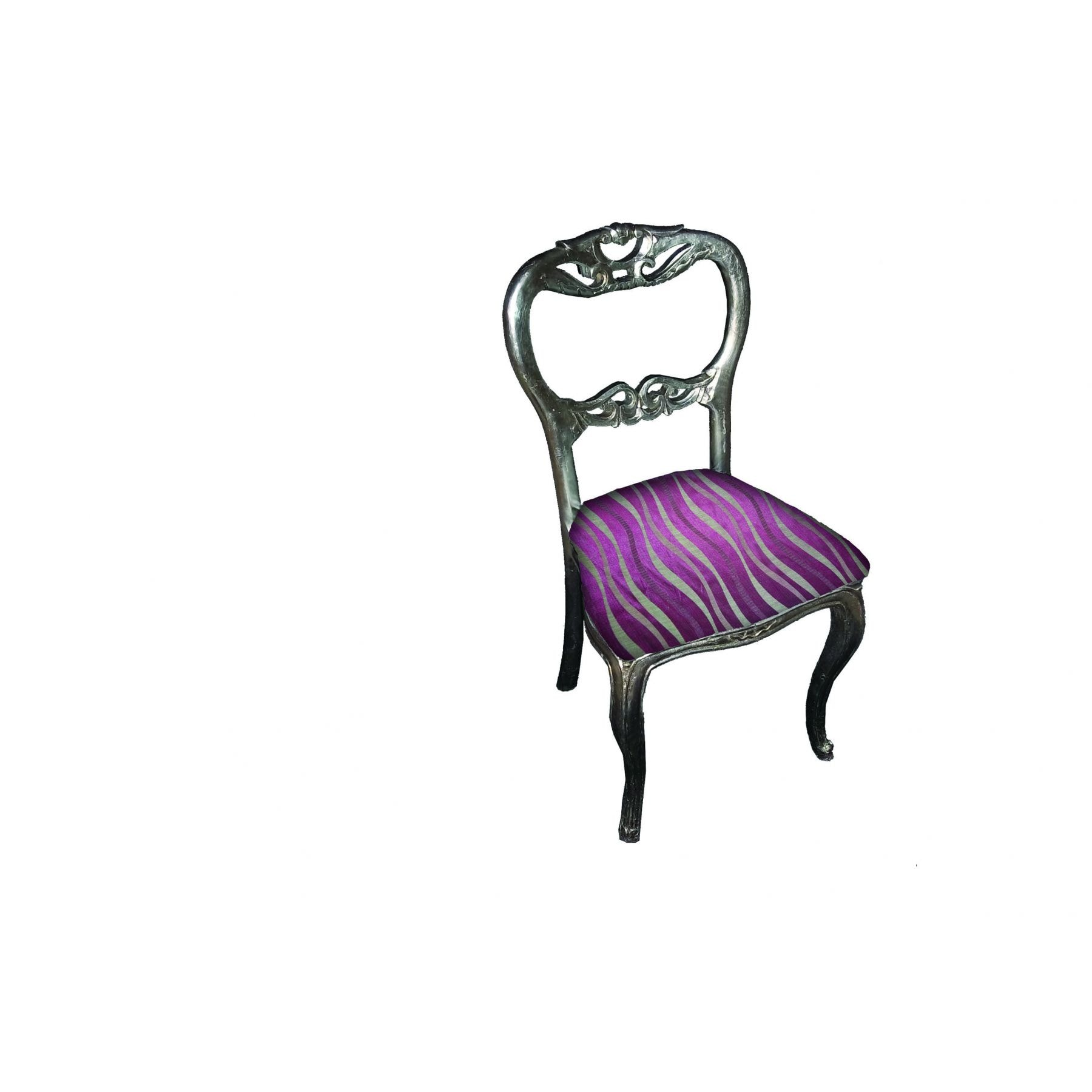 Silver Bedroom Chair French Silver Purple Louis Bedroom Chair