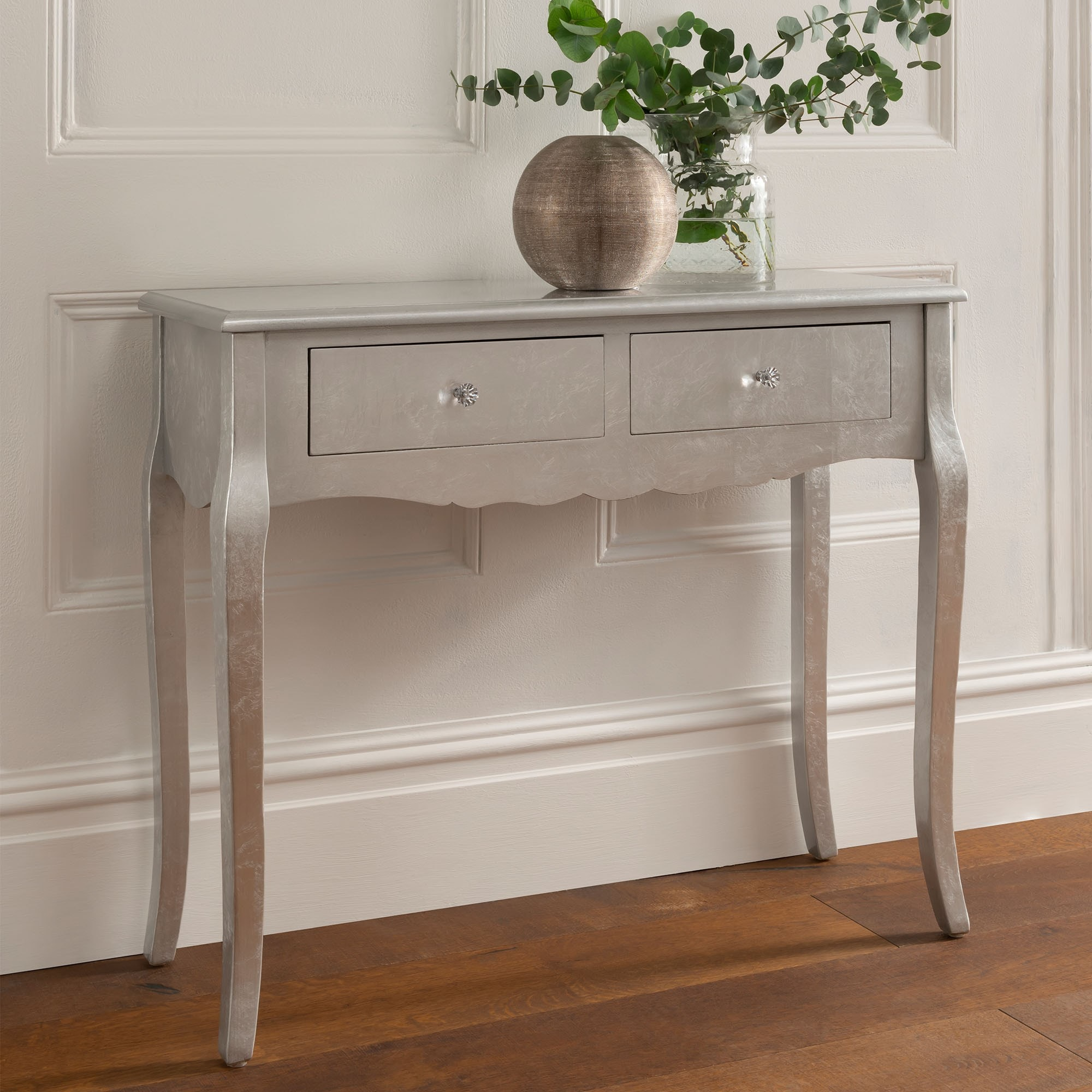 quality design 57689 93508 Antique French Style 2 Drawer Silver Console Table
