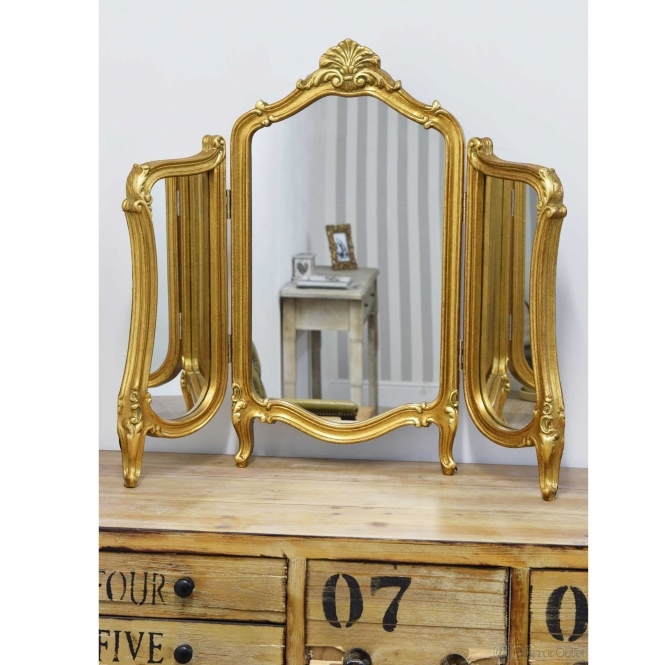 Antique French Style 3 Way Dressing Table Mirror