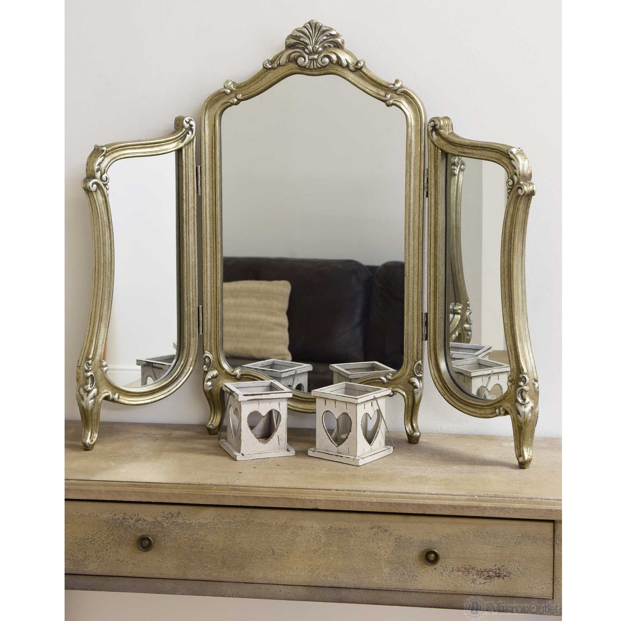 Antique French Style 3 Way Dressing Table Mirror Girls Makeup Mirror