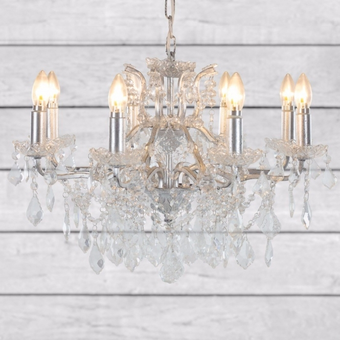Antique French Style 8 Branch Silver Leaf Shallow Chandelier