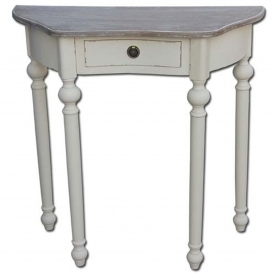 Antique French Style Aimee 1 Drawer Half Moon Side Table