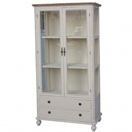 Antique French Style Aimee Country 2 Door Glazed Display Cabinet