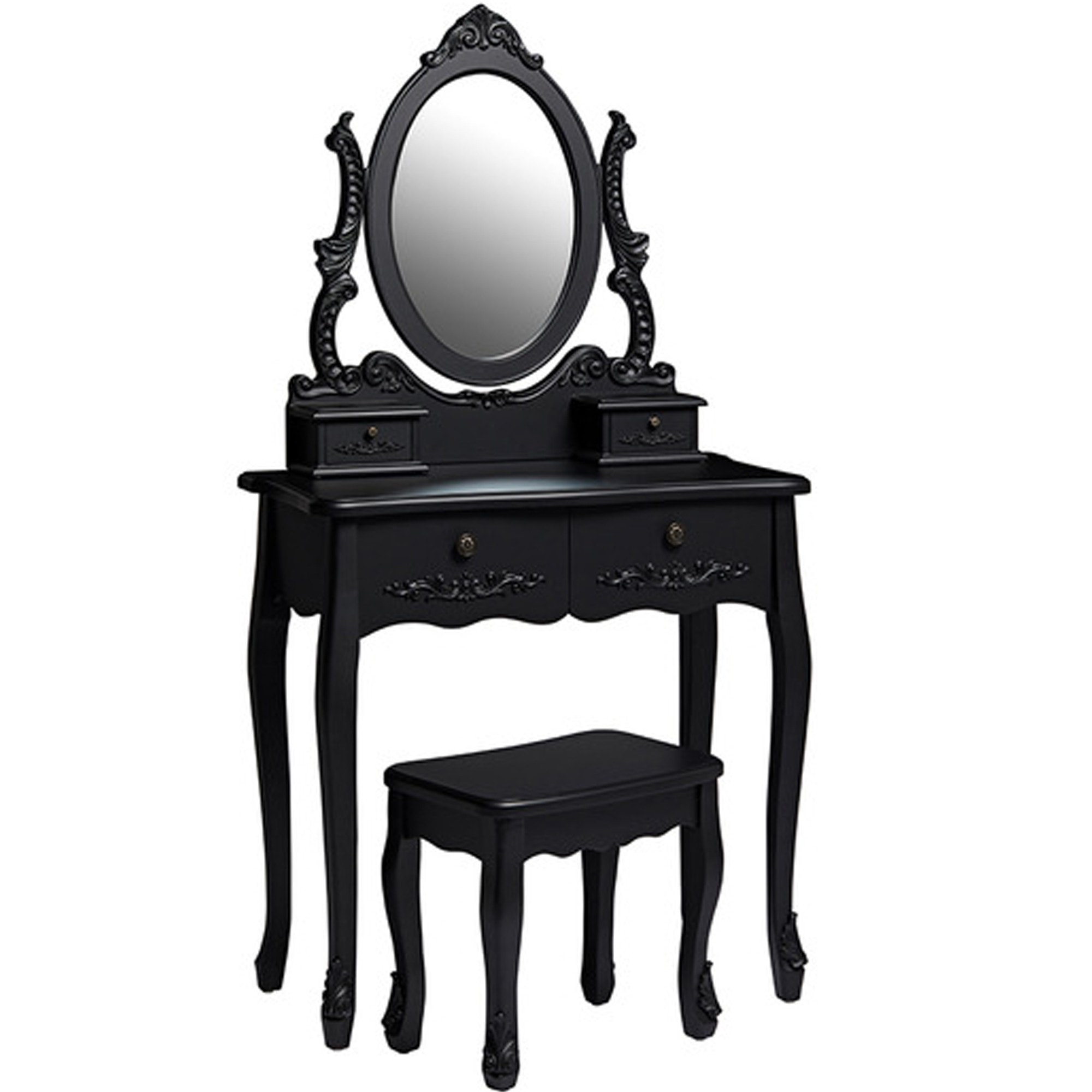 Antique French Style Antoinette Black Dressing Table Dressing Tables