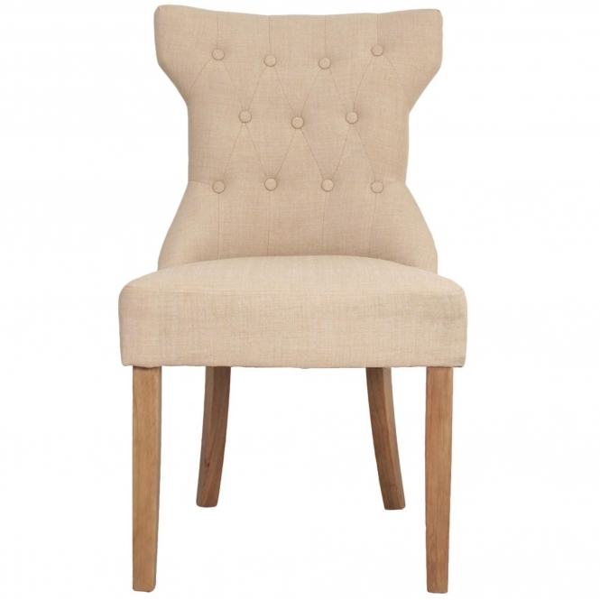 Antique French Style Beige Linen Chair