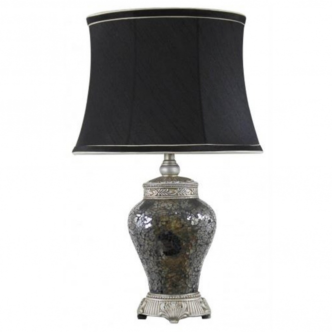 Antique French Style Black and Gold Mosaic Table Lamp