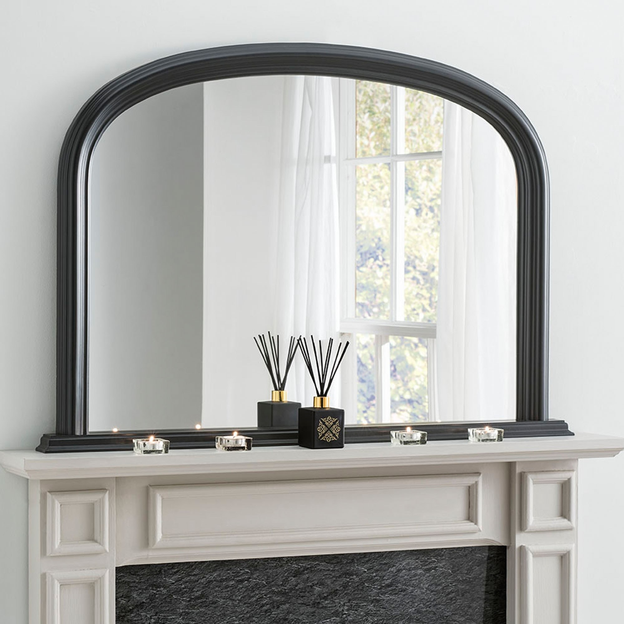 Antique French Style Black Overmantle Mirror Overmantle Mirrors