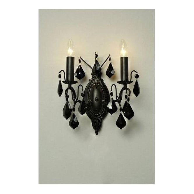 Antique French Style Black Wall Light 2 Arm