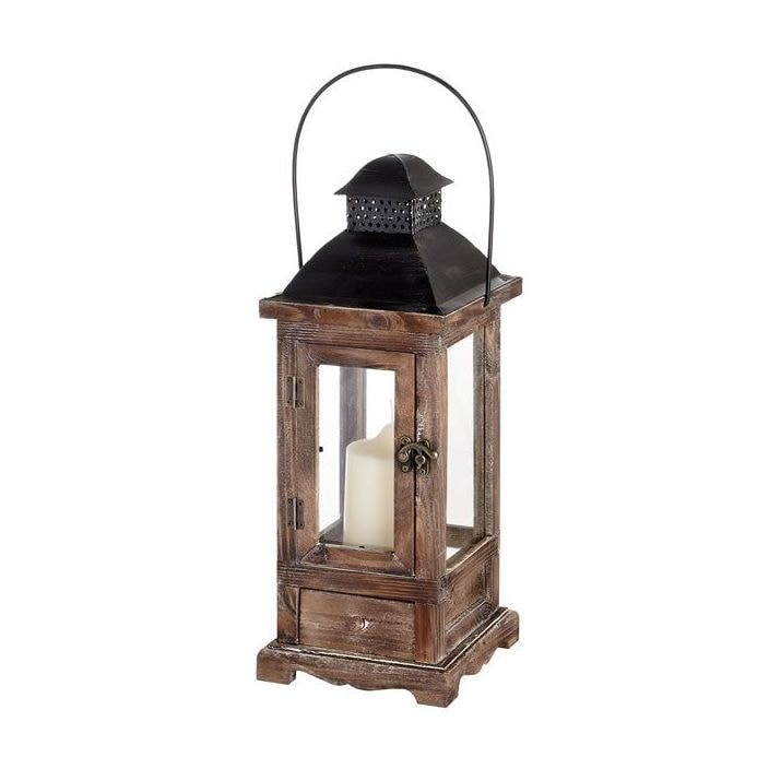Antique French Style Brown Wooden Lantern Lantern