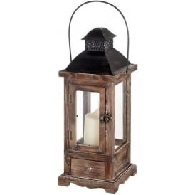 Antique French Style Brown Wooden Lantern