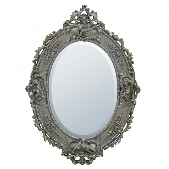 Antique French Style Champagne Silver Oval Wall Mirror