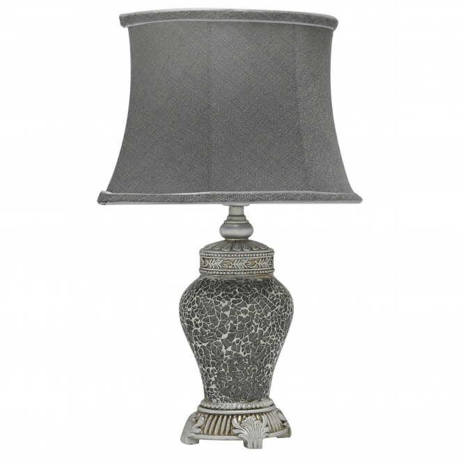 Antique French Style Charcoal Mosaic Table Lamp
