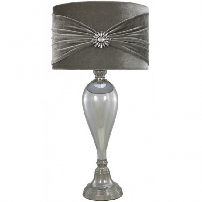 Antique French Style Chrome Glass Table Lamp