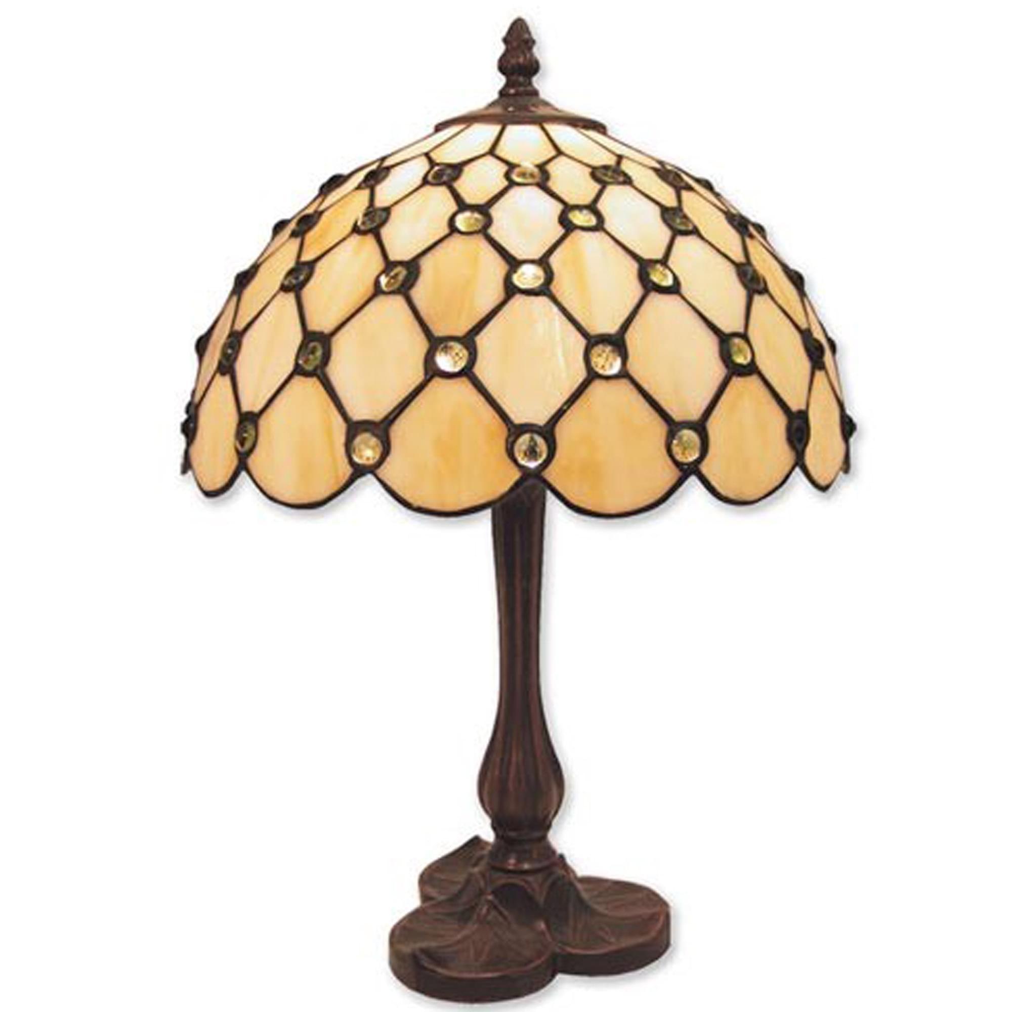 Antique French Style Cream Jewelled Medium Tiffany Table Lamp