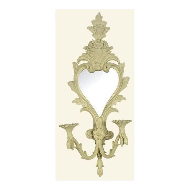 Antique French Style Cream Mirror with Floral Crest