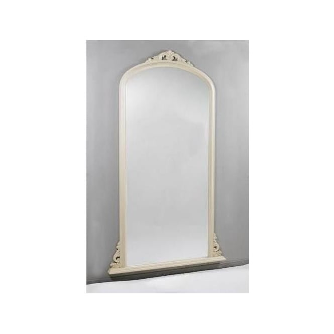 Antique French Style Cream Overmantle Mirror