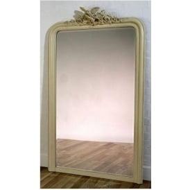 Antique French Style Cream Wall Mirror with Birds