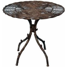 Antique French Style Finish Metal Bird Design Table
