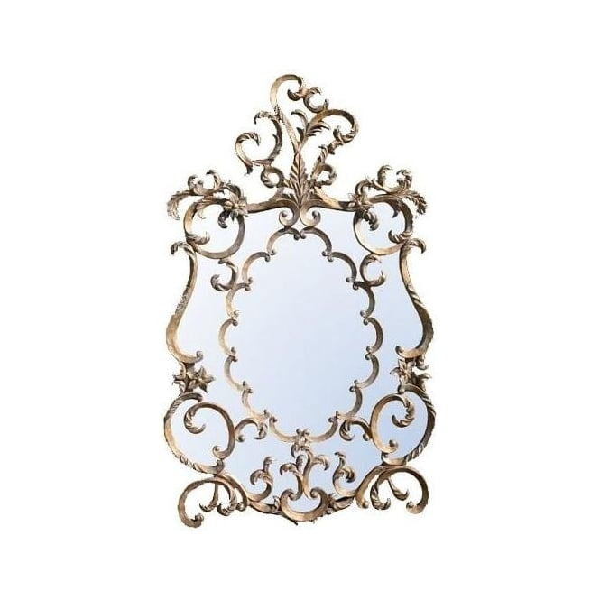 Antique French Style Fretted Gold Mirror