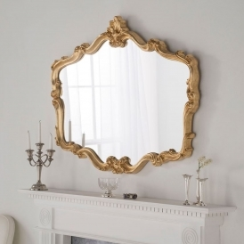 Antique French Style Gold Ornate Overmantle Mirror