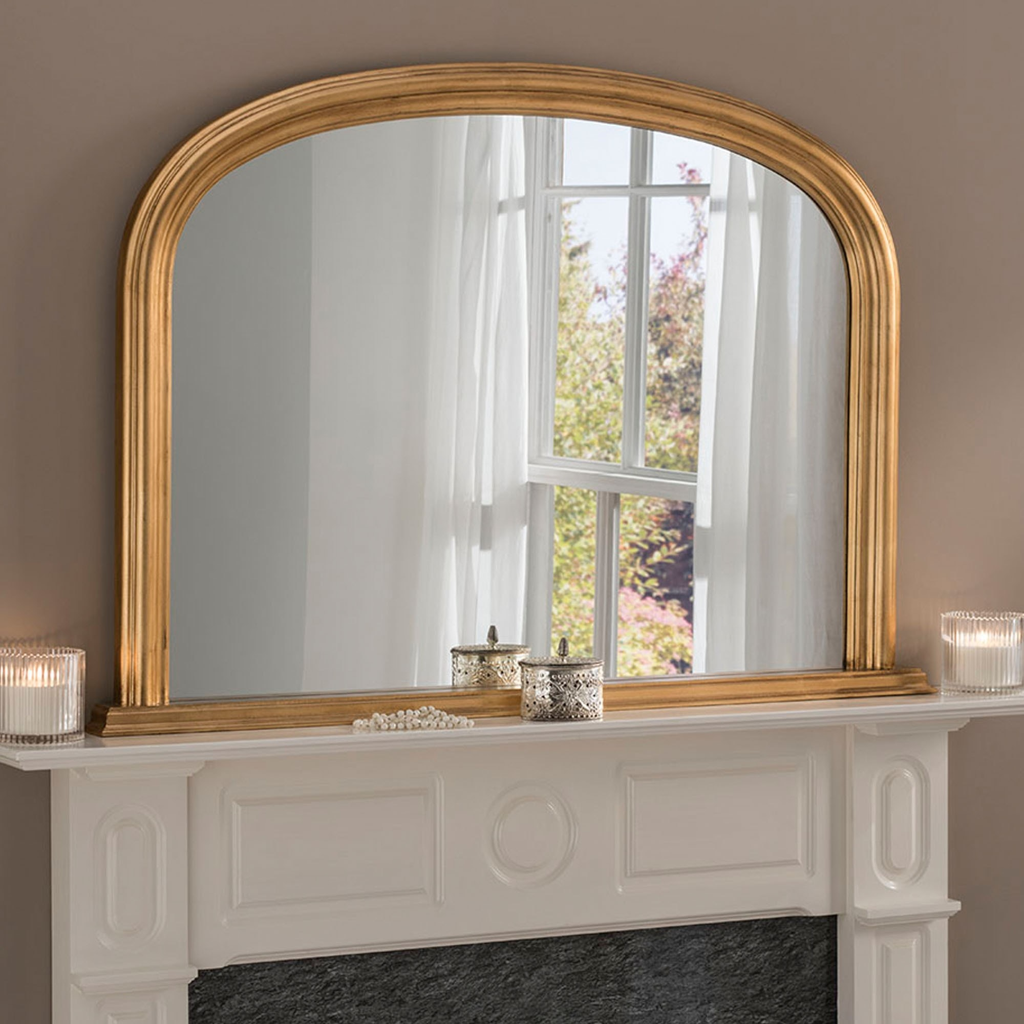 Antique French Style Gold Overmantle Mirror Overmantle Mirror