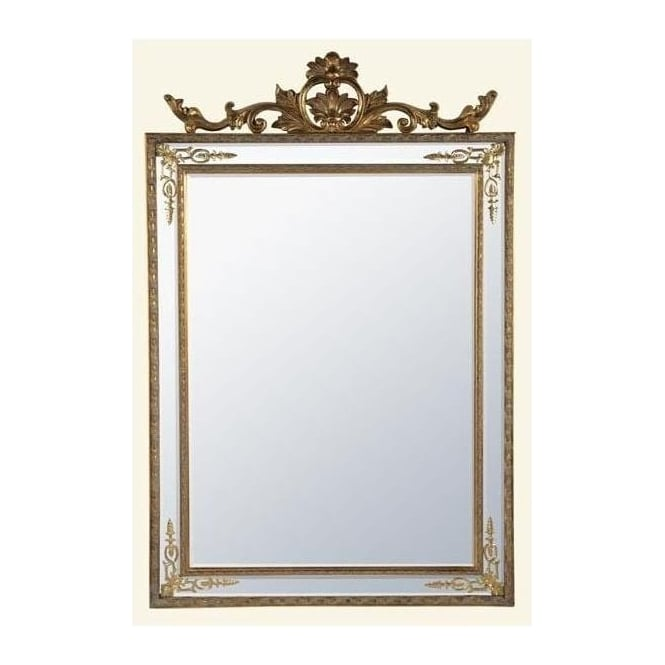 Antique French Style Gold Rectangular Mirror