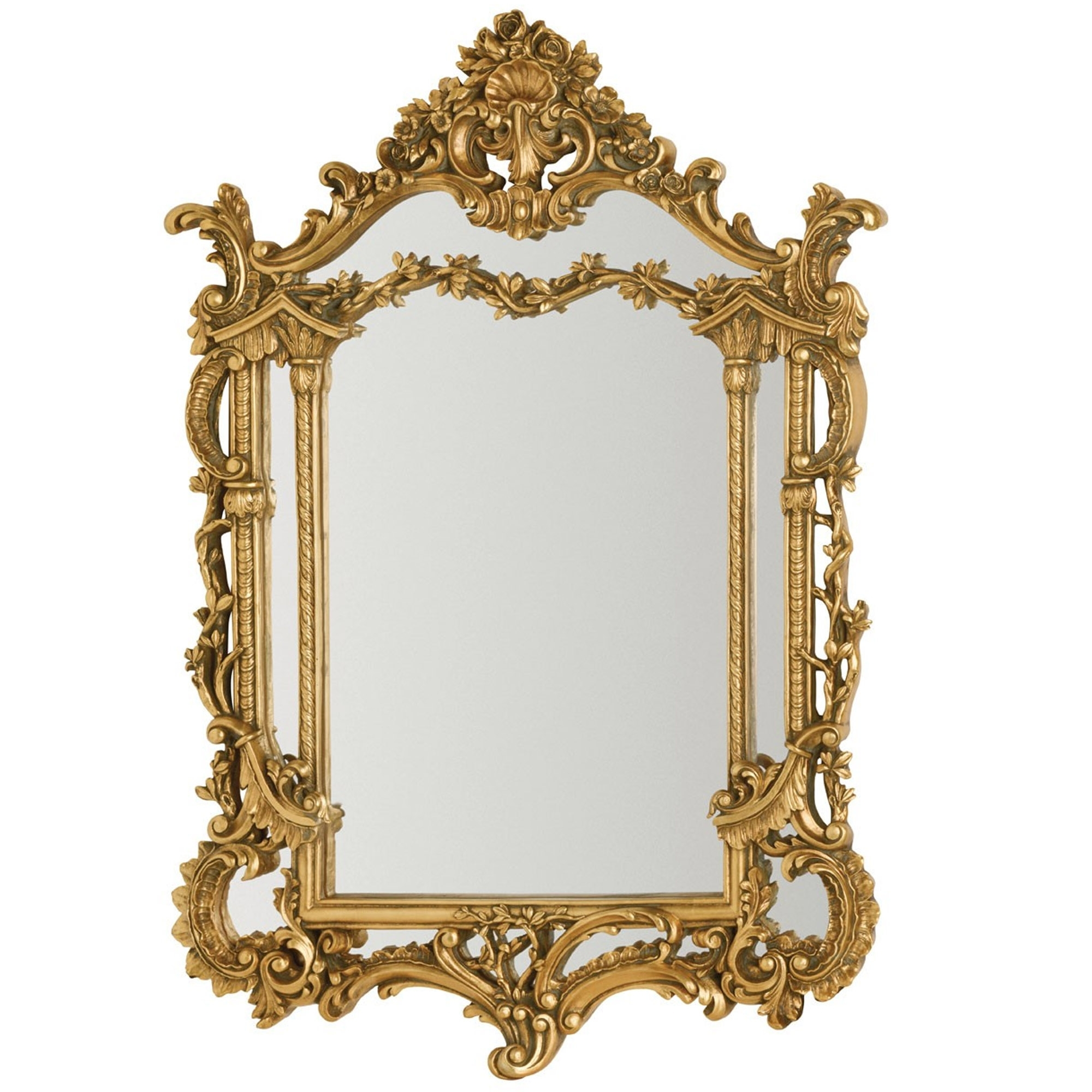 Antique French Style Gold Scarlatti Wall Mirror Wall