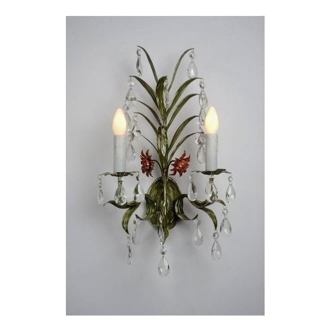 Antique French Style Green Leaf Wall Light