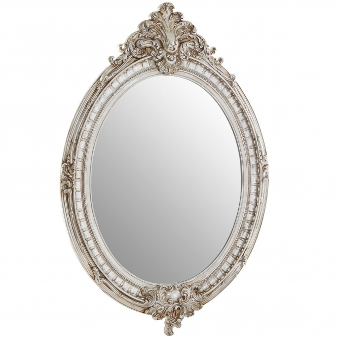 Antique French Style Juliet Oval Framed Wall Mirror