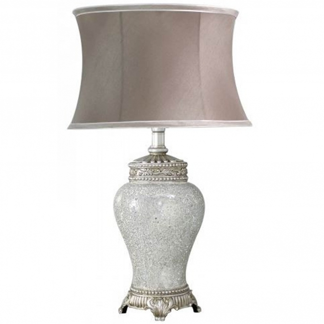 Antique French Style Large Silver Mosaic Table Lamp