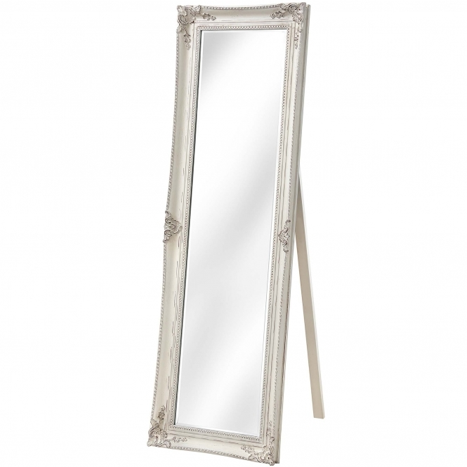 Antique French Style Ornate White Cheval Mirror