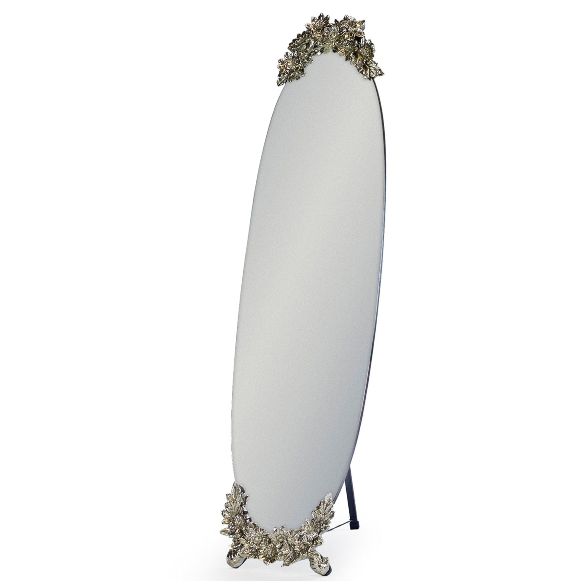 Antique French Style Oval Frameless Cheval Mirror With Butterfly Metallic Cresting Detail Shabby Chic Mirror Ornate Floor Mirror