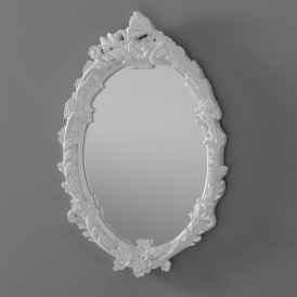 Antique French Style Oval White Ornate Wall Mirror