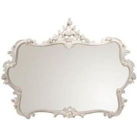 Antique French Style Overmantle White Mirror