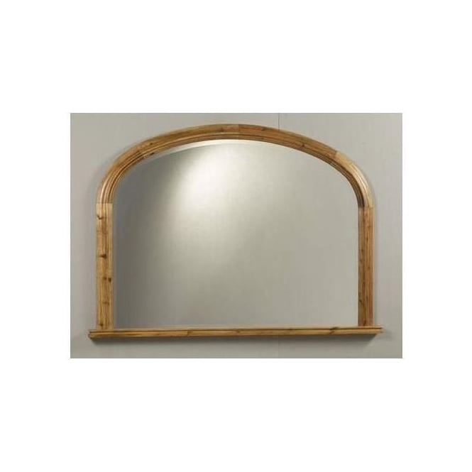 Antique French Style Pine Mallone Overmantle Mirror