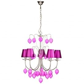 Antique French Style Pink Five Arm Chandelier