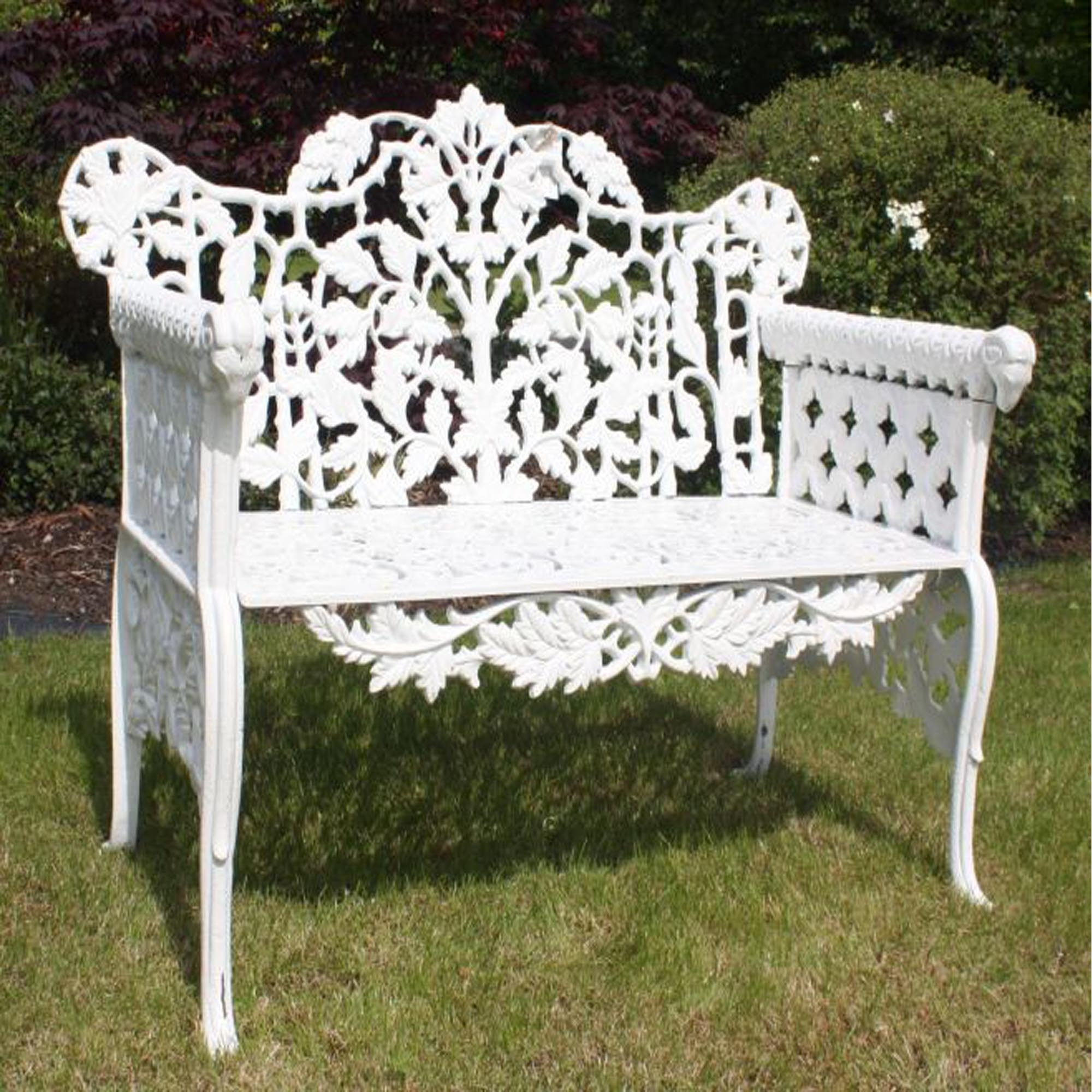 Superb Antique French Style Rams Head Garden Bench White Ncnpc Chair Design For Home Ncnpcorg