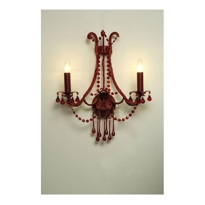 Antique French Style Red 2 Arm Wall Light