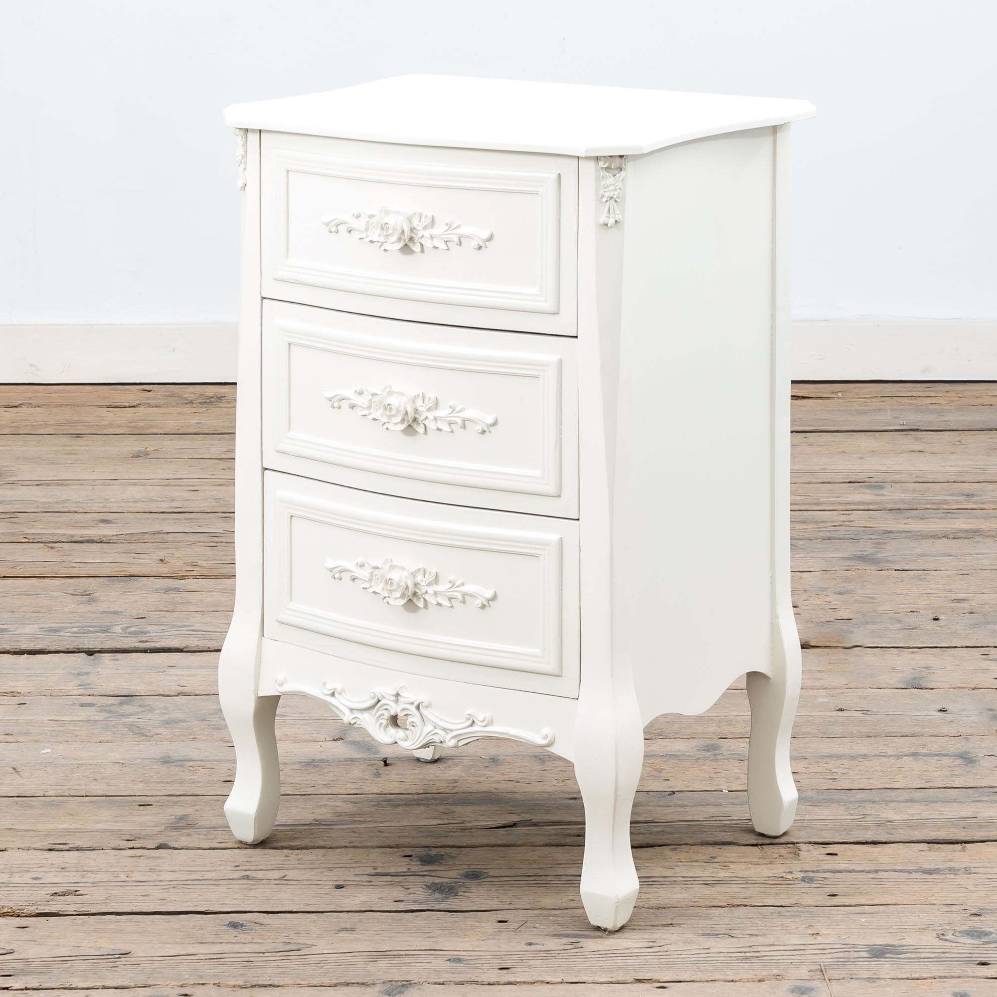 Antique French Style Rose White Bedside Table White Bedside Table