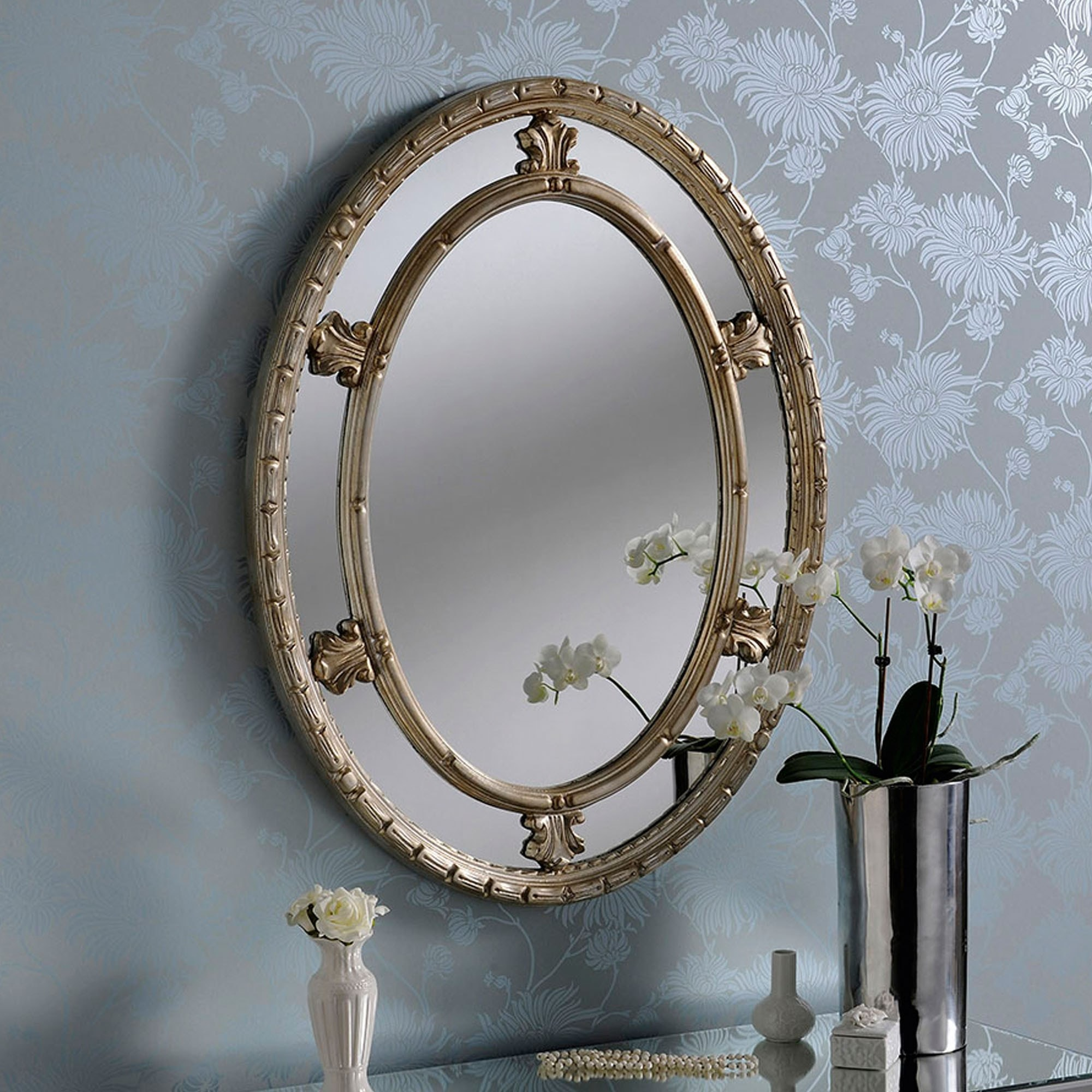 Antique French Style Silver Circular Wall Mirror Wall Mirrors