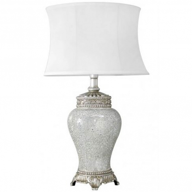 Antique French Style Silver Mosaic Table Lamp